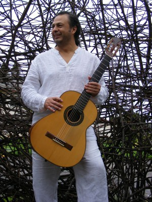 Musician Gerardo Calderon and tool of the trade.