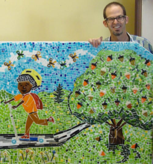Artist Mark Brody and detail of a mural created at Hollyrood Elementary. Bonny Slope Elementary plans to create a landmark mural using grant funds from Far West Fibers.